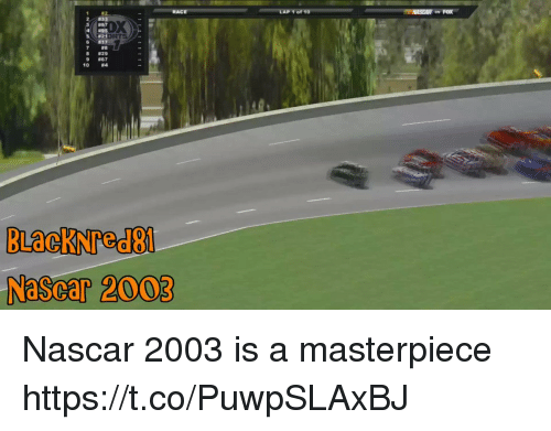 nascar: DX  857  5  DRT  #21  #17  #8  29  #67  #4  8  9  10  NaScar 2003 Nascar 2003 is a masterpiece https://t.co/PuwpSLAxBJ