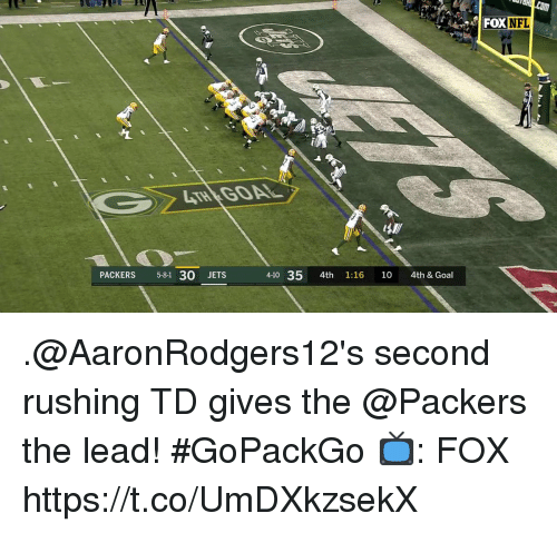 Memes, Goal, and Jets: DXNFL  PACKERS 5-81 30 JETS  4-10 35 4th 1:16 10 4th & Goal .@AaronRodgers12's second rushing TD gives the @Packers the lead! #GoPackGo  📺: FOX https://t.co/UmDXkzsekX