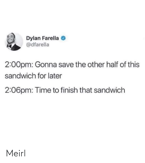 The Other: Dylan Farella  @dfarella  2:00pm: Gonna save the other half of this  sandwich for later  2:06pm: Time to finish that sandwich Meirl