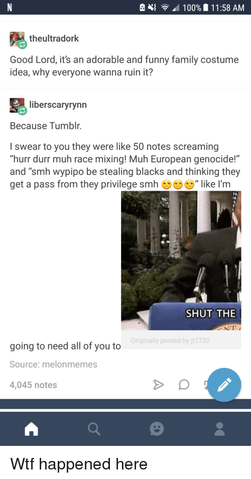 """durr: e  100%  1 1:58 AM  theultradork  Good Lord, it's an adorable and funny family costume  idea, why everyone wanna ruin it?  liberscaryrynn  Because Tumblr.  I swear to you they were like 50 notes screaming  """"hurr durr muh race mixing! Muh European genocide!""""  and """"smh wypipo be stealing blacks and thinking they  get a pass from they privilege smh ', like I'm  SHUT THE  Originally posted by jt1720  going to need all of you to  Source: melonmemes  4,045 notes <p>Wtf happened here</p>"""