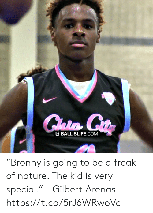 """Gilbert Arenas: E BALLISLIFE COM """"Bronny is going to be a freak of nature. The kid is very special."""" - Gilbert Arenas    https://t.co/5rJ6WRwoVc"""