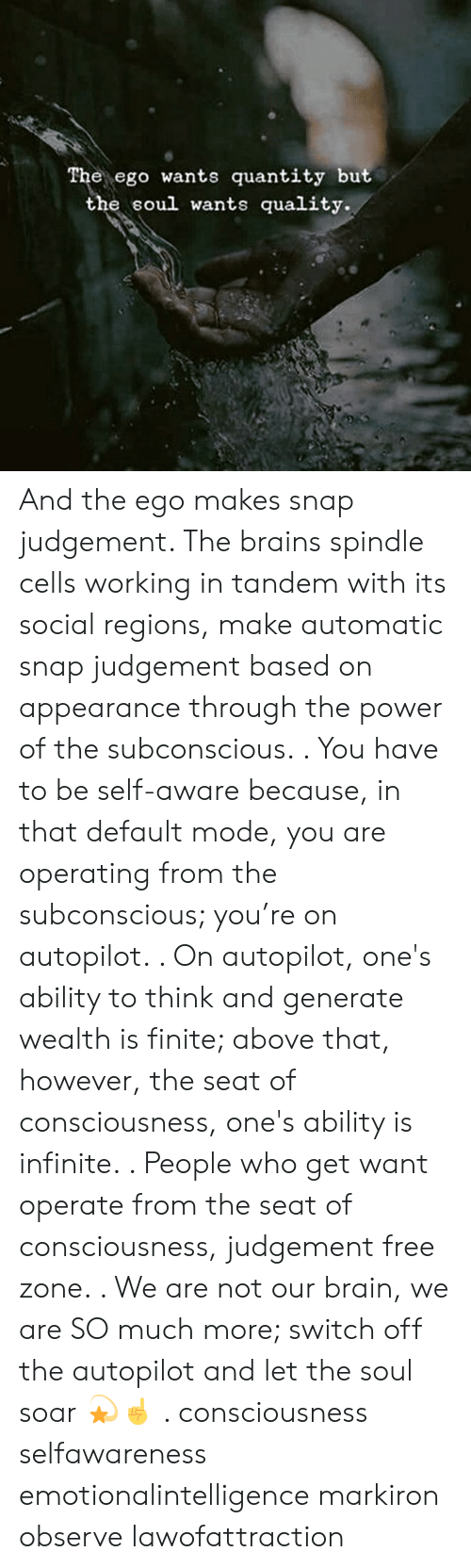 Brains, Memes, and Brain: e ego wants quantity but  the soul wants quality. And the ego makes snap judgement. The brains spindle cells working in tandem with its social regions, make automatic snap judgement based on appearance through the power of the subconscious. . You have to be self-aware because, in that default mode, you are operating from the subconscious; you're on autopilot. . On autopilot, one's ability to think and generate wealth is finite; above that, however, the seat of consciousness, one's ability is infinite. . People who get want operate from the seat of consciousness, judgement free zone. . We are not our brain, we are SO much more; switch off the autopilot and let the soul soar 💫☝️ . consciousness selfawareness emotionalintelligence markiron observe lawofattraction