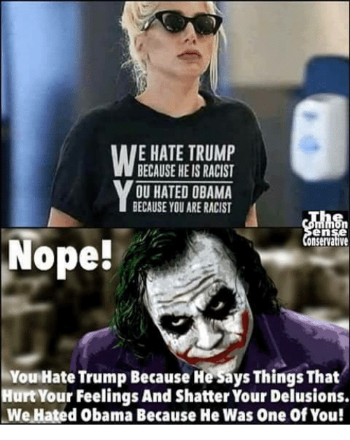 Memes, Obama, and Trump: E HATE TRUMP  BECAUSE HE IS RACIST  OU HATED OBAMA  BECAUSE YOU ARE RACIST  en  onservative  Nope!  You Hate Trump Because He Says Things That  Hurt Your Feelings And Shatter Your Delusions.  We Hated Obama Because He Was One of You!