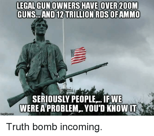 Truth Bomb: E OVER 20OM  GUNS AND12 TRILLION ROSOFAMMO  SERIOUSLY PEOPLE..IF WE  WERE APROBLEM YOUD KNOWIT  imgilip com Truth bomb incoming.