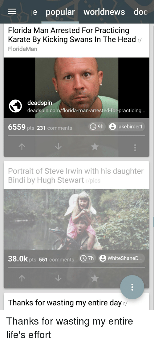 Florida Man, Funny, and Head: e popular worldnews doc  Florida Man Arrested For Practicing  Karate By Kicking Swans In The Head/  FloridaMan  deadspin  deadspin.com/florida-man-arrested-for-practicing  6559 pts 231 commentsh B jakebirder1  Portrait of Steve Irwin with his daughter  Bindi by Hugh Stewart r/pics  38.0k pts 551 comments h  WhiteShaneD...  Thanks for wasting my entire day/ Thanks for wasting my entire life's effort