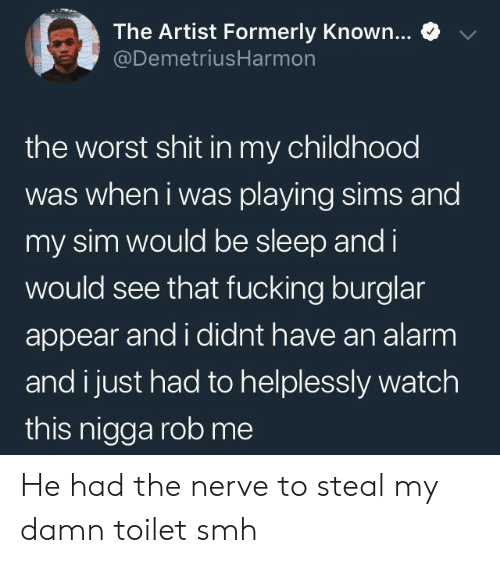 formerly: e  The Artist Formerly Known  @DemetriusHarmon  the worst shit in my childhood  was when i was playing sims and  my sim would be sleep and i  would see that fucking burglar  appear and i didnt have an alarm  and i just had to helplessly watch  this nigga rob me He had the nerve to steal my damn toilet smh