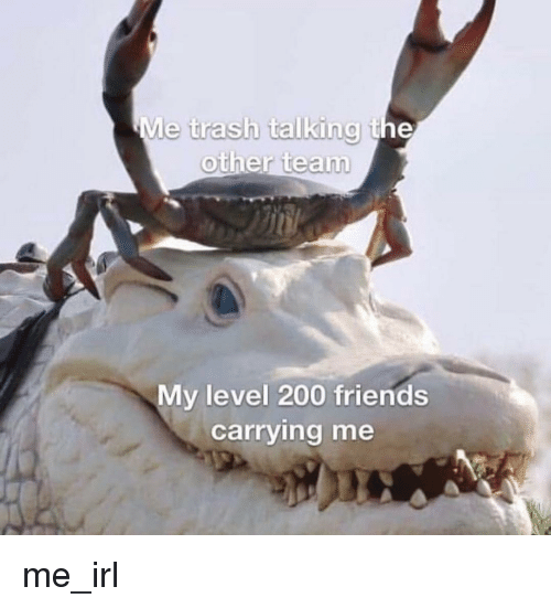 trash talking: e trash talking the  other team  My level 200 friends  carrying me me_irl