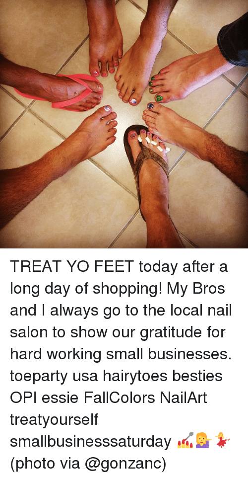 opi: E TREAT YO FEET today after a long day of shopping! My Bros and I always go to the local nail salon to show our gratitude for hard working small businesses. toeparty usa hairytoes besties OPI essie FallColors NailArt treatyourself smallbusinesssaturday 💅💁💃(photo via @gonzanc)