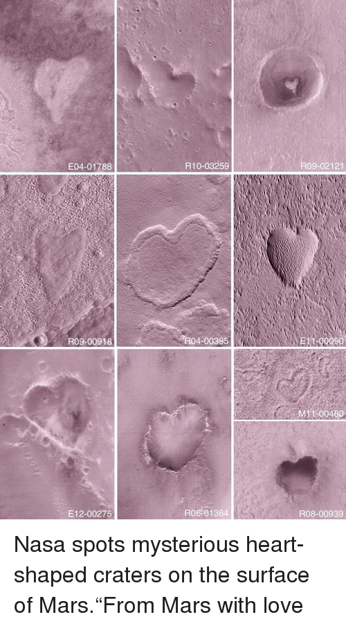 """Love, Nasa, and Target: E04-01788  R10-03259  R09-02121  R09-00918  R04-00395  11-00090  M 100480  E12-00275  R06-01364  R08-00939 Nasa spots mysterious heart-shaped craters on the surface of Mars.""""From Mars with love"""