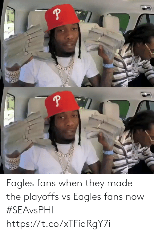 fans: Eagles fans when they made the playoffs vs Eagles fans now #SEAvsPHI https://t.co/xTFiaRgY7i