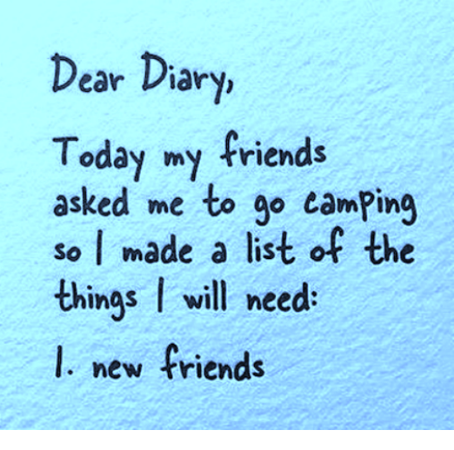 earing: ear Diary,  Today my friends  asked me to go camPing  so I made a list of the  things I will need  l. new friends