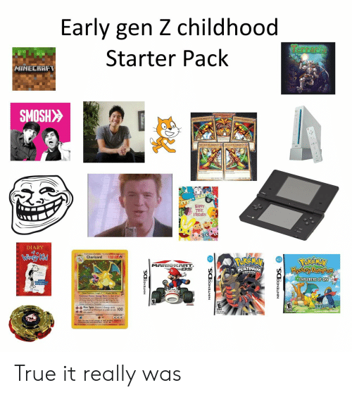 Diary: Early gen Z childhood  Terraria  Starter Pack  HINECRAFT  SMOSH>>  HAPPY  FRIENDS  DIARY  of a  Winpy Kid  120 HP  Charizard  MARIOKART.  DS  Kkystory Dung Pon  PLATINUM  EXPLORERS OF SKY  Fire spin Dscard Ener 100 True it really was