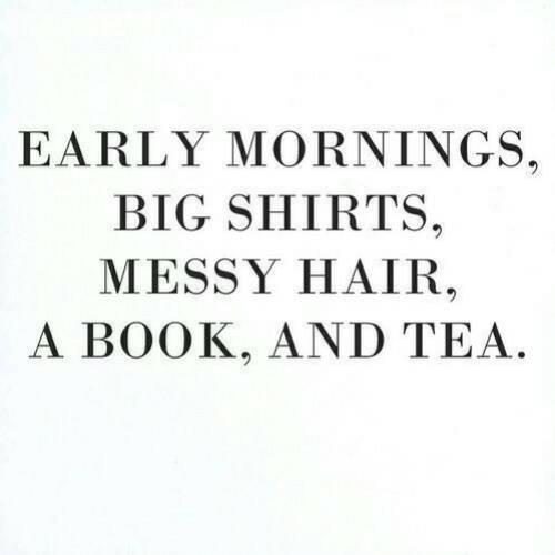 Book, Hair, and Tea: EARLY MORNINGS.  BIG SHIRTS.  MESSY HAIR  A BOOK, AND TEA