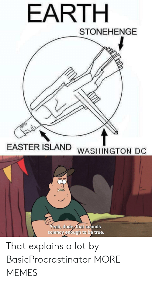 Washington Dc: EARTH  STONEHENGE  EASTER ISLAND  WASHINGTON DC  Yeah, dude that sounds  sciency enough to be true. That explains a lot by BasicProcrastinator MORE MEMES