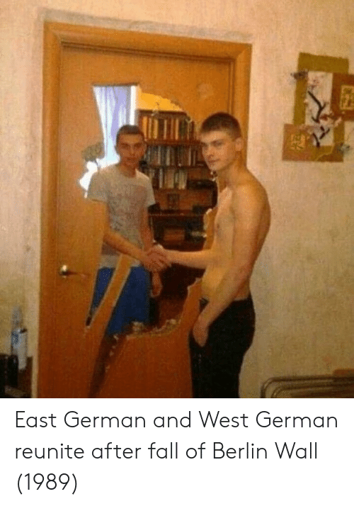 Fall, Berlin, and Berlin Wall: East German and West German reunite after fall of Berlin Wall (1989)