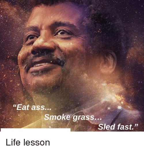 """Life Lesson: """"Eat ass...  Smoke grass...  Sled fast."""" Life lesson"""