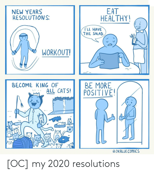 Become: EAT  HEALTHY!  NEW YEARS  RESOLUTIONS:  TLL HAVE  THE SALAD.  WORKOUT!  BE MORE  POSITIVE!  BECOME KING OF  ALL CATS!  @ OKBLUE COMICS [OC] my 2020 resolutions