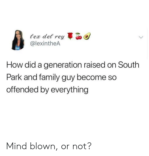 Family Guy: ec det r  @lexintheA  reyo  How did a generation raised on South  Park and family guy become so  offended by everything Mind blown, or not?