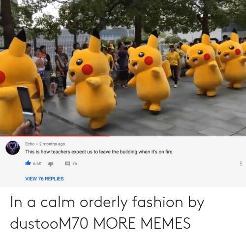 Dank, Fashion, and Fire: Echo 2 months ago  This is how teachers expect us to leave the building when it's on fire.  6.6K  76  VIEW 76 REPLIES In a calm orderly fashion by dustooM70 MORE MEMES