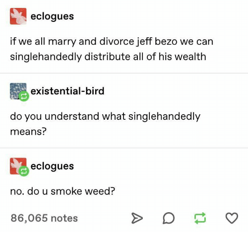 Smoke Weed: eclogues  if we all marry and divorce jeff bezo we can  singlehandedly distribute all of his wealth  existential-bird  do you understand what singlehandedly  means?  eclogues  no. do u smoke weed?  >  86,065 notes