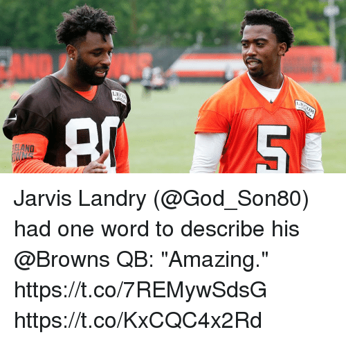 "God, Memes, and Browns: ECOM  LEC  ELAND Jarvis Landry (@God_Son80) had one word to describe his @Browns QB:  ""Amazing."" https://t.co/7REMywSdsG https://t.co/KxCQC4x2Rd"