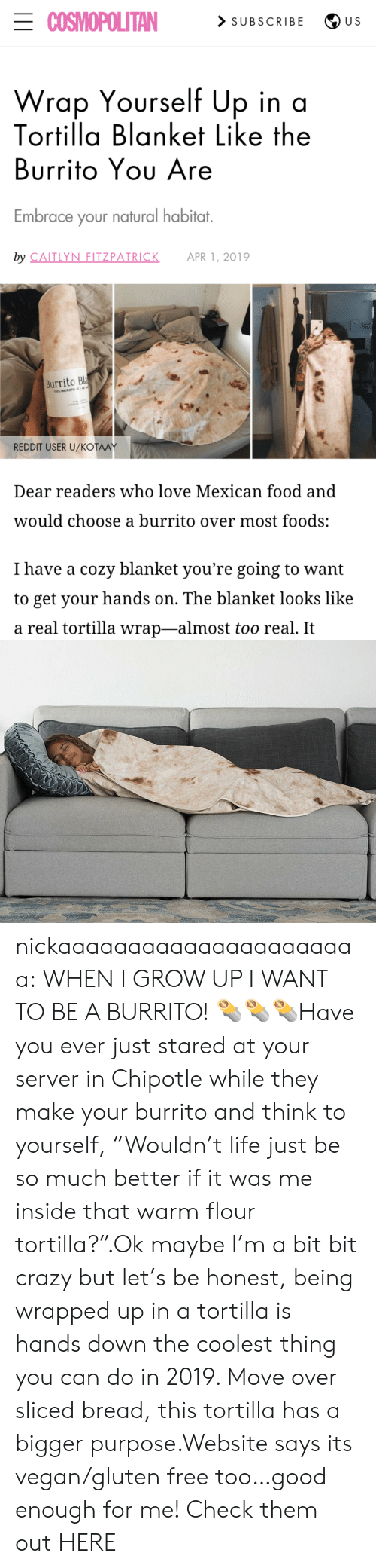 "Chipotle, Crazy, and Food: ECOSMOPOLITAN  > SUBSCRIBE  U S  Wrap Yourself Up in a  Tortilla Blanket Like the  Burrito Yου Are  Embrace your natural habitat.  by CAITLYN FITZPATRICK  APR 1, 2019  Burrito Bla  100% MICROFE  REDDIT USER U/KOŤAAY  Dear readers who love Mexican food and  would choose a burrito over most foods:  I have a cozy blanket you're going to want  to get your hands on. The blanket looks like  a real tortilla wrap-almost too real. It nickaaaaaaaaaaaaaaaaaaaaaa:  WHEN I GROW UP I WANT TO BE A BURRITO! 🌯🌯🌯Have you ever just stared at your server in Chipotle while they make your burrito and think to yourself, ""Wouldn't life just be so much better if it was me inside that warm flour tortilla?"".Ok maybe I'm a bit bit crazy but let's be honest, being wrapped up in a tortilla is hands down the coolest thing you can do in 2019. Move over sliced bread, this tortilla has a bigger purpose.Website says its vegan/gluten free too…good enough for me! Check them out HERE"