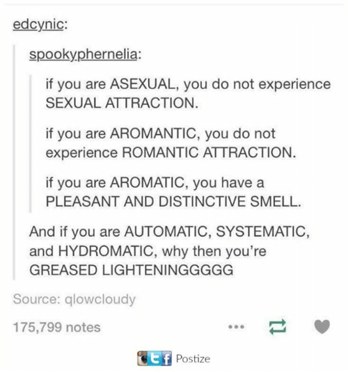 systematic: ed cynic:  spooky phernelia:  if you are ASEXUAL, you do not experience  SEXUAL ATTRACTION.  if you are AROMANTIC, you do not  experience ROMANTIC ATTRACTION.  if you are AROMATIC, you have a  PLEASANT AND DISTINCTIVE SMELL.  And if you are AUTOMATIC, SYSTEMATIC,  and HYDROMATIC, why then you're  GREASED LIGHTENINGGGGG  Source: glowcloudy  175,799 notes  KEf Postize