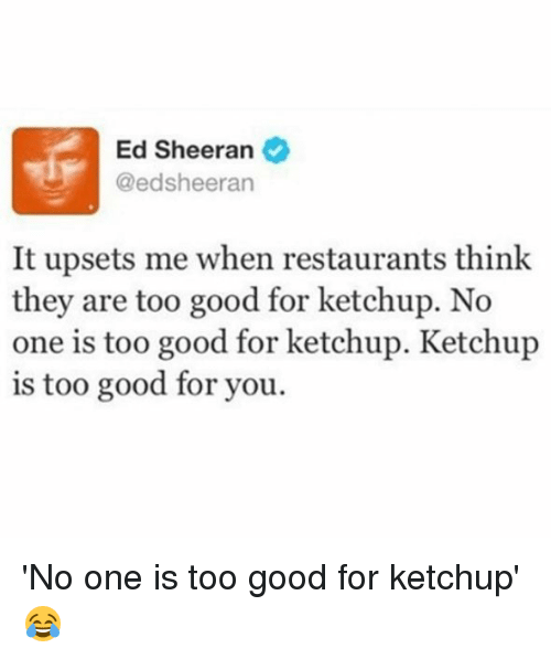 too-good-for-you: Ed Sheeran  @ed sheeran  It upsets me when restaurants think  they are too good for ketchup. No  one is too good for ketchup. Ketchup  is too good for you. 'No one is too good for ketchup' 😂