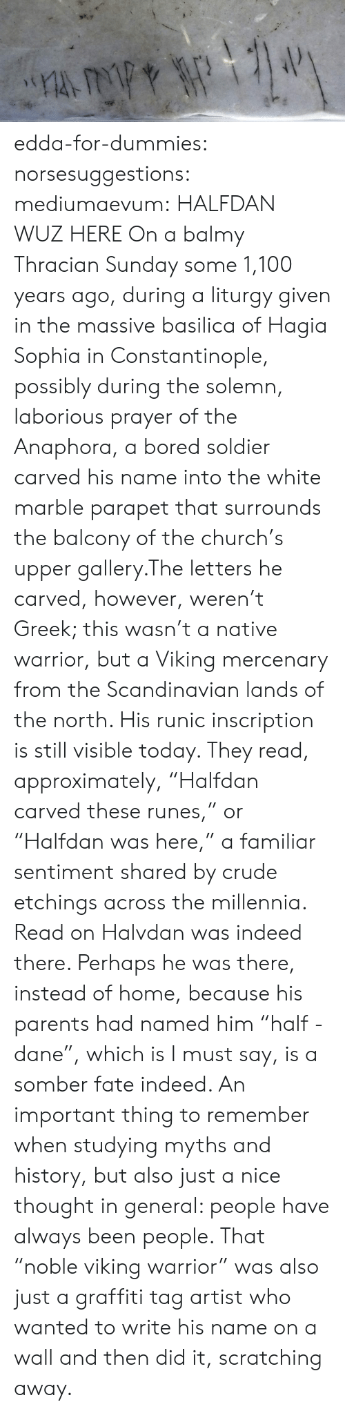 """solemn: edda-for-dummies: norsesuggestions:  mediumaevum:  HALFDAN WUZ HERE On a balmy Thracian Sunday some 1,100 years ago, during a liturgy given in the massive basilica of Hagia Sophia in Constantinople, possibly during the solemn, laborious prayer of the Anaphora, a bored soldier carved his name into the white marble parapet that surrounds the balcony of the church's upper gallery.The letters he carved, however, weren't Greek; this wasn't a native warrior, but a Viking mercenary from the Scandinavian lands of the north. His runic inscription is still visible today. They read, approximately, """"Halfdan carved these runes,"""" or """"Halfdan was here,"""" a familiar sentiment shared by crude etchings across the millennia. Read on  Halvdan was indeed there. Perhaps he was there, instead of home, because his parents had named him """"half - dane"""", which is I must say, is a somber fate indeed.   An important thing to remember when studying myths and history, but also just a nice thought in general: people have always been people. That """"noble viking warrior"""" was also just a graffiti tag artist who wanted to write his name on a wall and then did it, scratching away."""