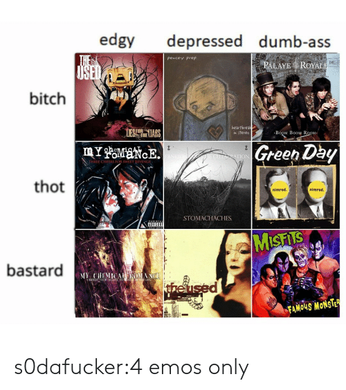 ues: edgy depressed dumb-ass  pencey Prep  PALAYE ROYAL  bitch  1  UES heLIARS  heartbreak  n stereo  BoOM B0OM RoOM  Green Dby  TION  THREE CHEERS FOR SWEET RIVENGE  thot  nimrod.  nimrod  STOMACHACHES.  ADVISORY  bastard  theu  FAMOUS MONSTE s0dafucker:4 emos only