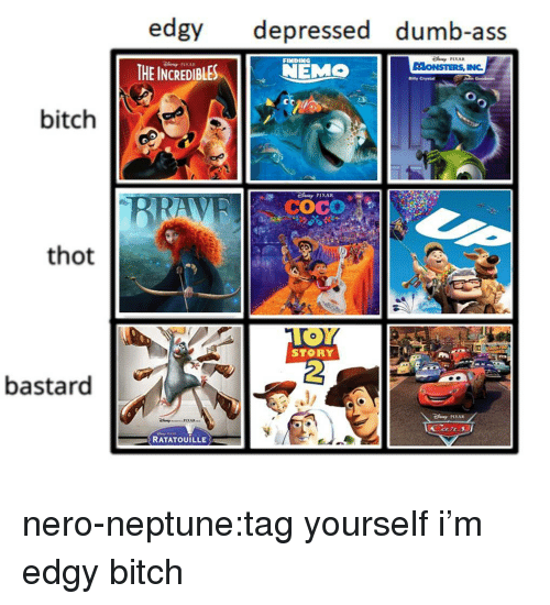 Ass, Bitch, and CoCo: edgy depressed dumb-ass  THE INCREDIBLESEMO  FINDING  PIXAR  Bilty Crystal  bitch  COCO  thot  STORY  2  bastard  PIXAR  RATATOUILLE nero-neptune:tag yourself i'm edgy bitch