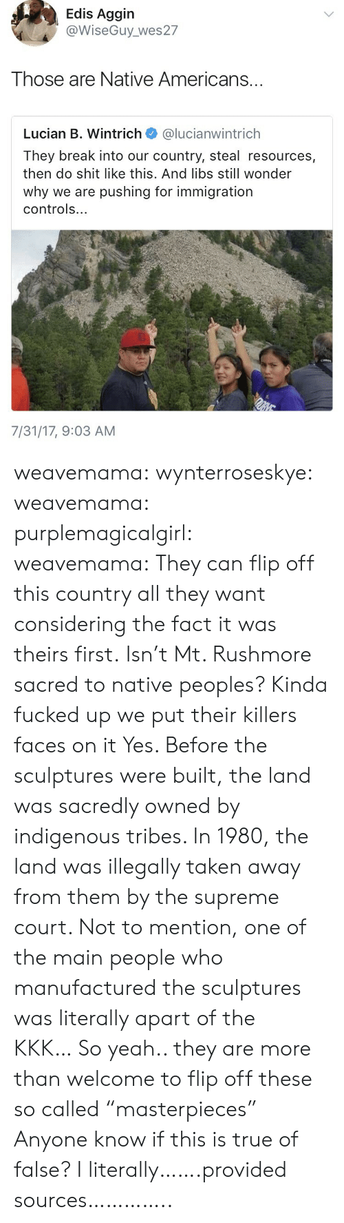 """Rushmore: Edis Aggin  @WiseGuy_ wes27  Those are Native Americans...  Lucian B. Wintrich @lucianwintrich  They break into our country, steal resources,  then do shit like this. And libs still wonder  why we are pushing for immigration  controls...  7/31/17, 9:03 AM weavemama: wynterroseskye:   weavemama:  purplemagicalgirl:  weavemama: They can flip off this country all they want considering the fact it was theirs first. Isn't Mt. Rushmore sacred to native peoples? Kinda fucked up we put their killers faces on it  Yes. Before the sculptures were built, the land was sacredly owned by indigenous tribes. In 1980, the land was illegally taken away from them by the supreme court. Not to mention, one of the main people who manufactured the sculptures was literally apart of the KKK…So yeah.. they are more than welcome to flip off these so called""""masterpieces""""   Anyone know if this is true of false?   I literally…….provided sources………….."""