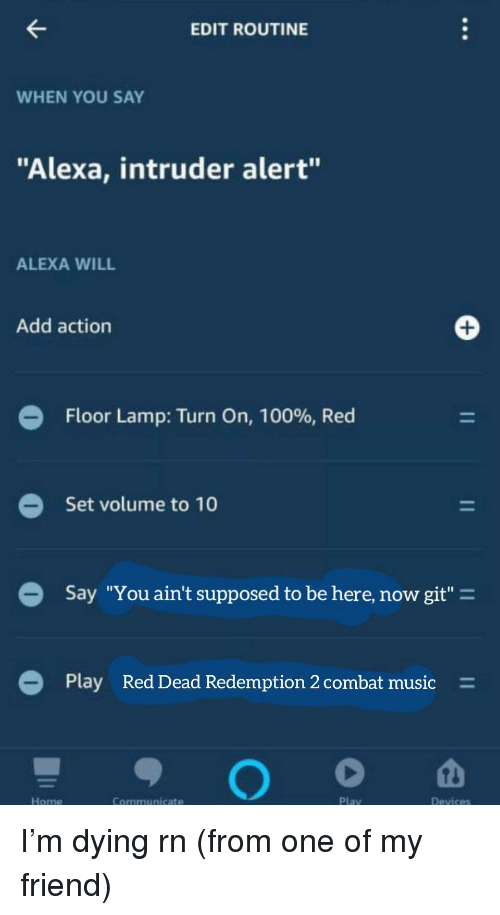 "Anaconda, Music, and Reddit: EDIT ROUTINE  WHEN YOU SAY  ""Alexa, intruder alert""  ALEXA WILL  Add action  Floor Lamp: Turn On, 100%, Red  Set volume to 10  Say ""You ain't supposed to be here, now git""-  Play  Red Dead Redemption 2 combat music  =  Home  Communicate  Play"
