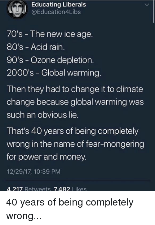 Ice Age: Educating Liberal:s  @Education4Libs  70's - The new ice age.  80's - Acid rain  90's - Ozone depletion.  2000's - Global warming.  Then they had to change it to climate  change because global warming was  such an obvious lie.  That's 40 years of being completely  wrong in the name of fear-mongering  for power and money.  12/29/17, 10:39 PM  4.217 Retweets 7.482 Likes 40 years of being completely wrong...