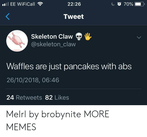 pancakes: EE WiFiCall  22:26  Tweet  Skeleton Claw  @skeleton_claw  Waffles are just pancakes with abs  26/10/2018, 06:46  24 Retweets 82 Likes MeIrl by brobynite MORE MEMES