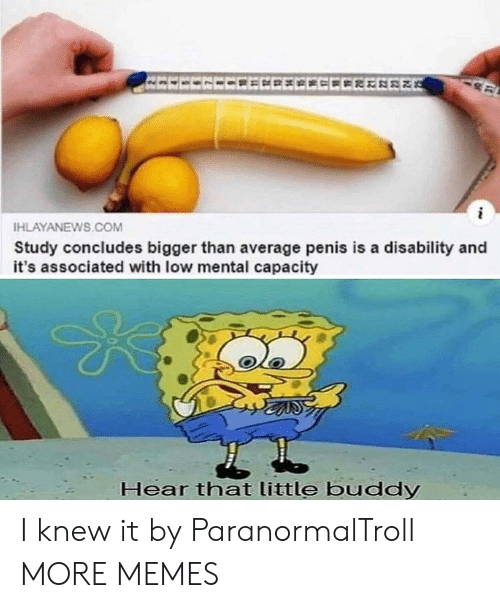 little buddy: EECECCEECECCEEEREE  HLAYANEWS.COM  Study concludes bigger than average penis is a disability and  it's associated with low mental capacity  Hear that little buddy I knew it by ParanormalTroll MORE MEMES