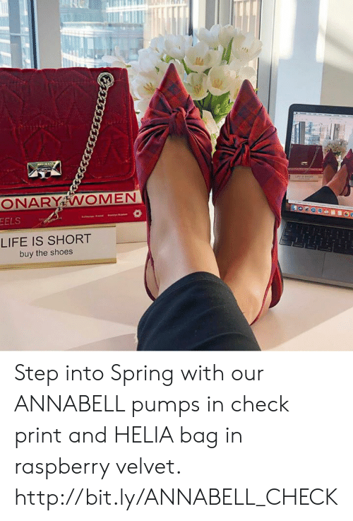 Life, Memes, and Shoes: EELS  LIFE IS SHORT  buy the shoes Step into Spring with our ANNABELL pumps in check print and HELIA bag in raspberry velvet. http://bit.ly/ANNABELL_CHECK