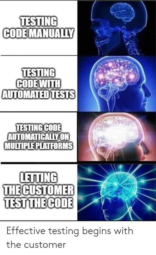 Testing: Effective testing begins with the customer