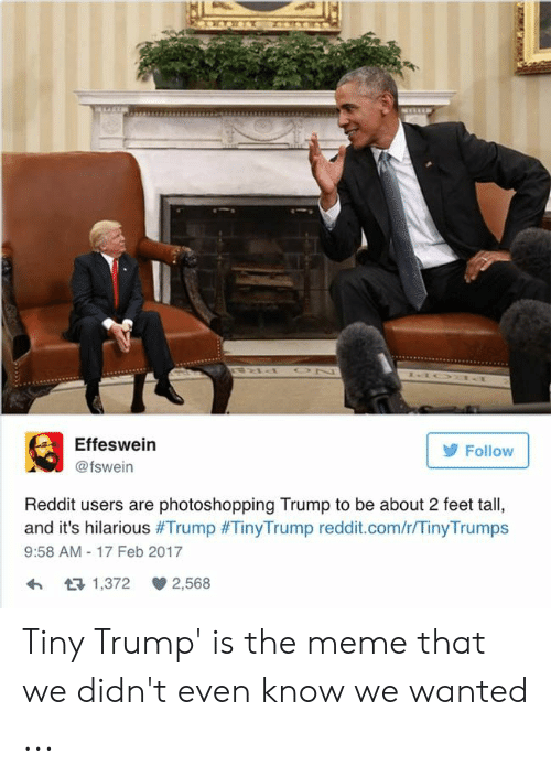 Tinytrumps: Effeswein  @fswein  Follow  Reddit users are photoshopping Trump to be about 2 feet tall,  and it's hilarious #Trump #TinyTrump reddit.com/r/TinyTrumps  9:58 AM 17 Feb 2017  1,372 2,568 Tiny Trump' is the meme that we didn't even know we wanted ...