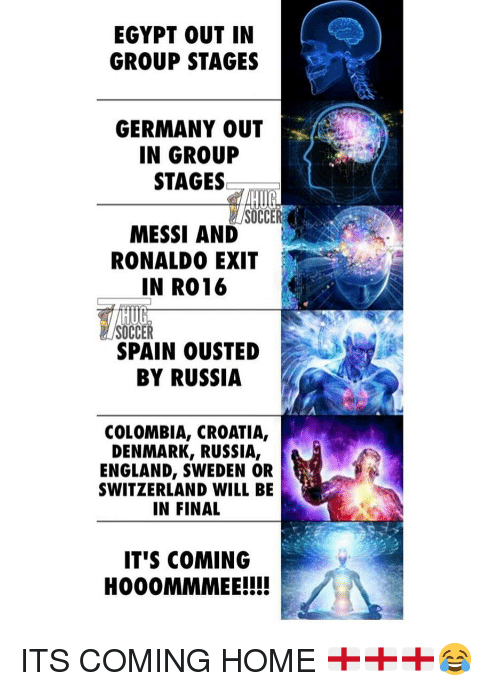 England, Soccer, and Colombia: EGYPT OUT IN  GROUP STAGES  GERMANY OUT  IN GROUP  STAGES  SOCC  MESSI AND  RONALDO EXIT  IN R016  HUG  SOCCER  SPAIN OUSTED  BY RUSSIA  COLOMBIA, CROATIA,  DENMARK, RUSSIA,  ENGLAND, SWEDEN OR  SWITZERLAND WILL BE  IN FINAL  IT'S COMING  HOO0MMMEE!!! ITS COMING HOME 🏴󠁧󠁢󠁥󠁮󠁧󠁿🏴󠁧󠁢󠁥󠁮󠁧󠁿🏴󠁧󠁢󠁥󠁮󠁧󠁿😂