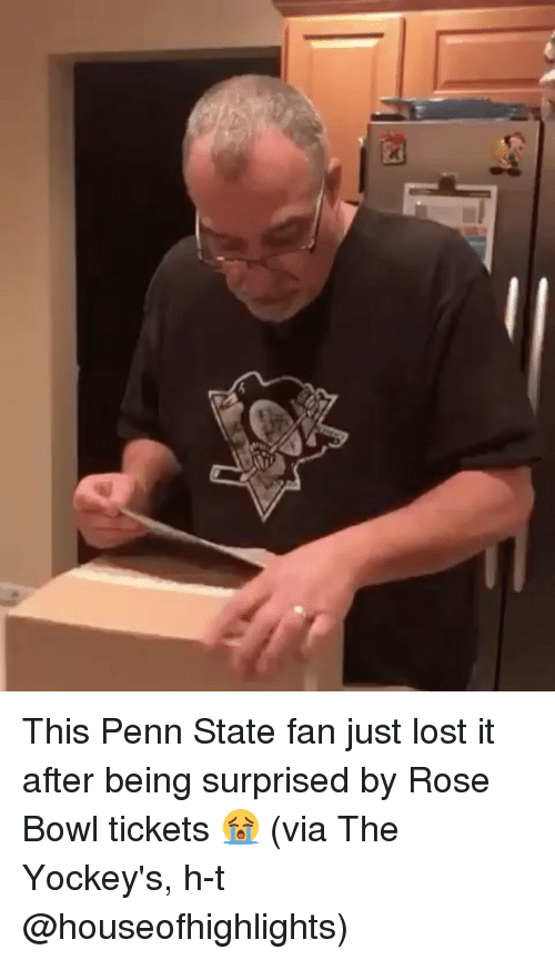 Penn State: Ei This Penn State fan just lost it after being surprised by Rose Bowl tickets 😭 (via The Yockey's, h-t @houseofhighlights)