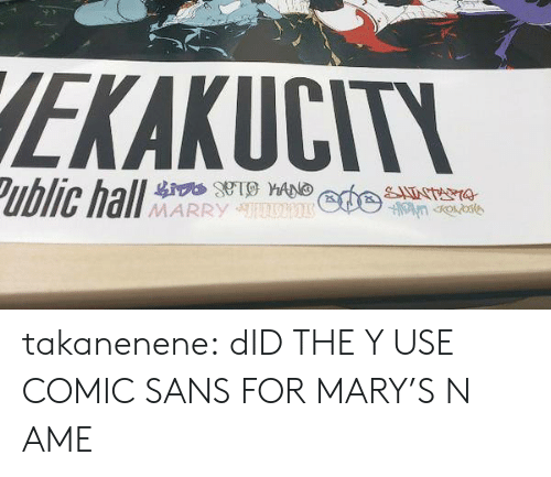 Sans: EKAKUCITY  Public hall  SATNTANA  MARRY takanenene: dID THE Y USE COMIC SANS FOR MARY'S N AME