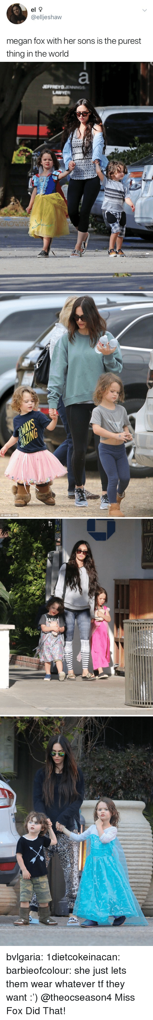 Megan Fox: el 9  @elljeshaw  megan fox with her sons is the purest  thing in the world   © AKM-GSI bvlgaria:  1dietcokeinacan:  barbieofcolour:  she just lets them wear whatever tf they want :')  @theocseason4 Miss Fox Did That!