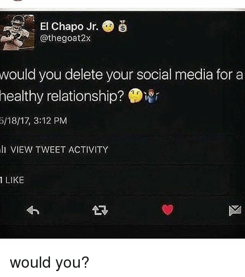 Chapo: . El Chapo Jr.  @thegoat2x  would you delete your social media for a  healthy  relationship?  5/18/17, 3:12 PM  li VIEW TWEET ACTIVITY  1 LIKE would you?