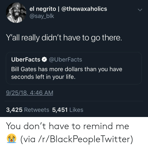 Uberfacts: el negrito | @thewaxaholics  @say_blk  Yall really didn't have to go there.  UberFacts  @UberFacts  Bill Gates has more dollars than you have  seconds left in your life.  9/25/18, 4:46 AM  3,425 Retweets 5,451 Likes You don't have to remind me ? (via /r/BlackPeopleTwitter)