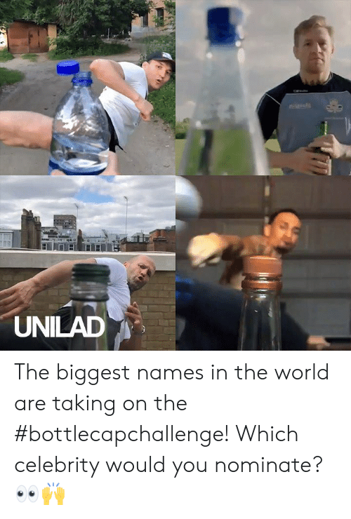 Dank, World, and 🤖: el  UNILAD The biggest names in the world are taking on the #bottlecapchallenge! Which celebrity would you nominate? 👀🙌