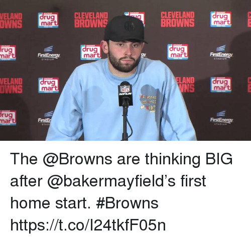 Memes, Browns, and Cleveland: ELAND drug  CLEVELAND-  BROWNSBROWNS  CLEVELAND  ELAND  rug  mart  OWNS  mart  rug  mar  rug  mar  drug  mar  STADIU  STADIUM  ELAND  NS  VELAND  rug  mart  rug  mar  OWNS  E SPİRE  rug  mart  FirstEnergy  STAD  TADIUM The @Browns are thinking BIG after @bakermayfield's first home start. #Browns https://t.co/I24tkfF05n
