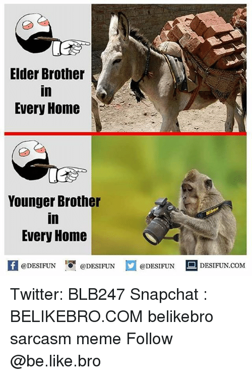 Be Like, Meme, and Memes: Elder Brother  in  Every Home  Younger Brother  in  Every Home  困@DESIFUN 증@DESIFUN @DESIFUN DESIFUN.COM Twitter: BLB247 Snapchat : BELIKEBRO.COM belikebro sarcasm meme Follow @be.like.bro