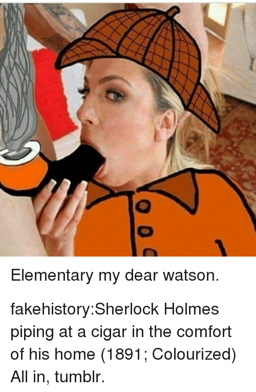 Sherlock: Elementary my dear watson. fakehistory:Sherlock Holmes piping at a cigar in the comfort of his home (1891; Colourized) All in, tumblr.