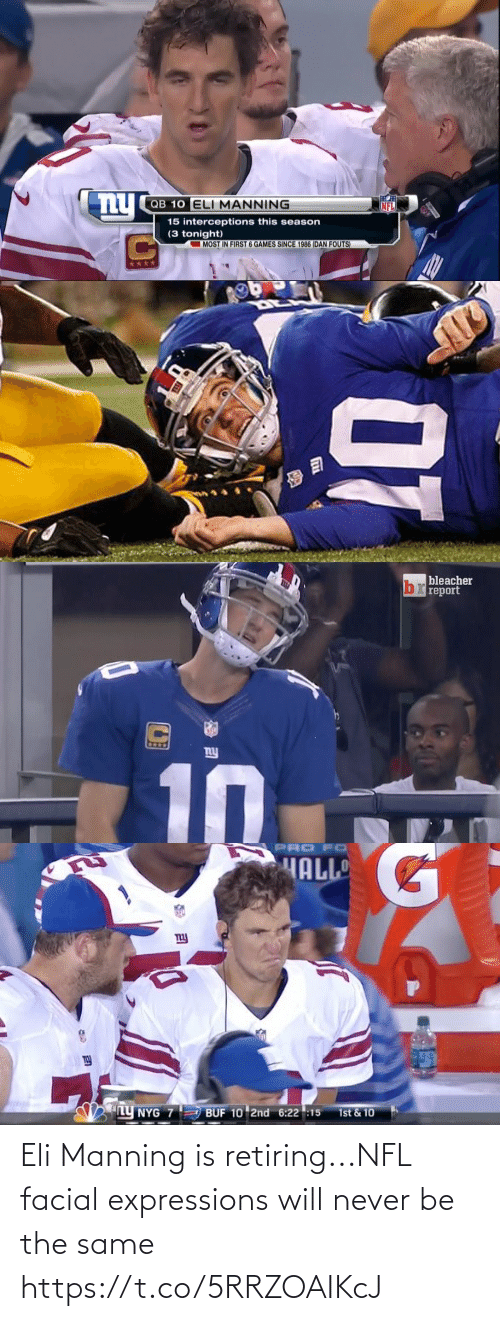 Https: Eli Manning is retiring...NFL facial expressions will never be the same https://t.co/5RRZOAIKcJ